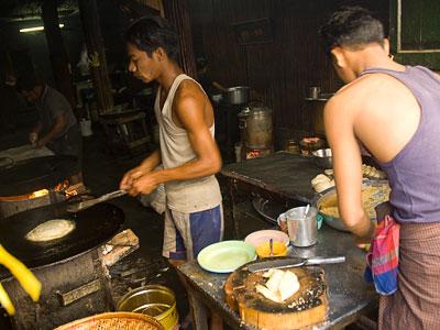 making paratha in rangoon